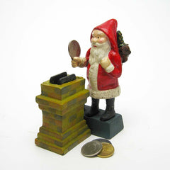"7"" Antique Replica Christmas Santa Clause Collectible Collectors Die Cast Iro..."