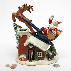 Santa Clause on the Roof Christmas Cast Iron Mechanical Coin Bank