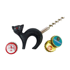 Black Cat Bottle Opener with Corkscrew Tail