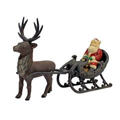 Victorian Style Santa Clause with Reindeer Die-Heavy Cast Iron Statue