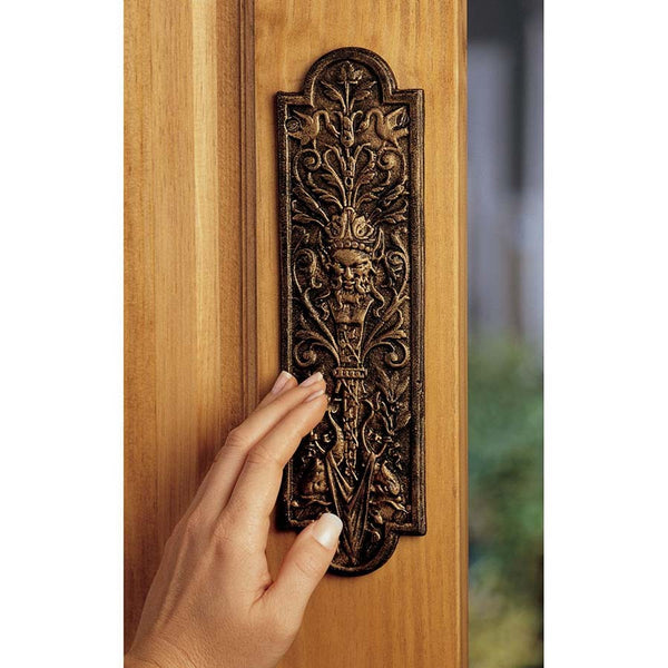 "10.5"" Antique Replica Classic Decorative Door Push Pull Cast Iron Plate MR"
