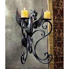 "16"" Medieval Gothic Dragon Decorative Iron Wall Candle Holder Decor"