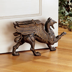 Bronze Finished Foundry Iron Griffin Victorian Antique Bookend/ Doorstop