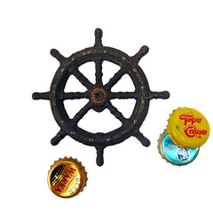 Captains Boat Wheel Cast Iron Bottle Opener - Set of 2