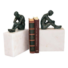 Decorative Cast Iron Nude Male Statue and Marble Base Bookends - Set of 2
