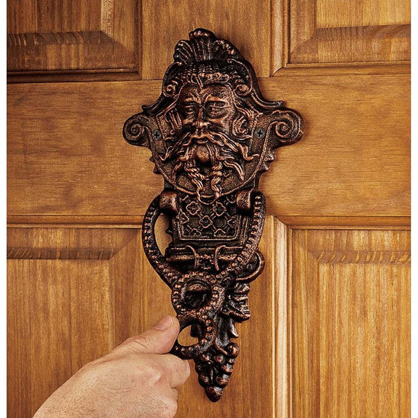 "10.5"" 19th Century Victorian Antique Replica Foundry Iron Greenman Doorknocker"