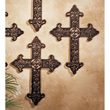 "18"" French Royalty Cross Cast Iron Wall Sculpture Decor - Set of 2"