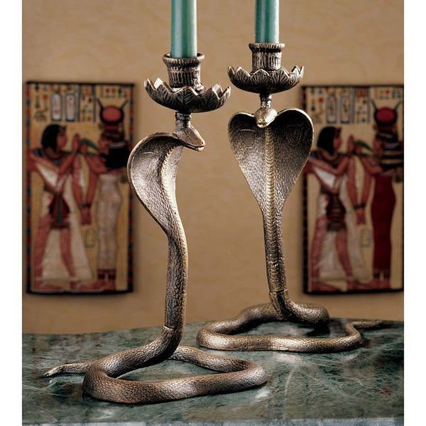 "11"" Ancient Egyptian Uraeus King Cobra Iron Sculpture Statue Candle Stand Hol..."