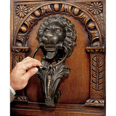 "15"" Antique Replica Lion Iron Doorknocker"