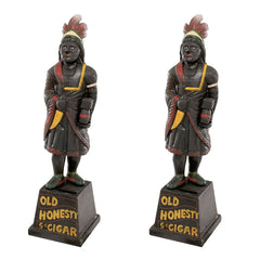 "13"" Collectible Cigar Store Indian Tripe Foundry Iron Folk Art Bank Museum Re..."