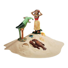 Antique Replica Tropical Island Hawaii Girl Parrot Lobster Combo Iron Beer Be...
