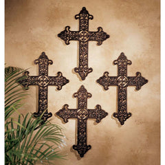 "18"" French Royalty Cross Cast Iron Wall Sculpture Decor - Set of 4"