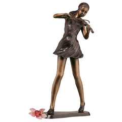 "18"" Authentic Wax Bronze Musical Violinist Bronze Sculpture Statue"