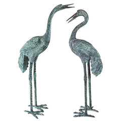 BRONZE CRANES PAIR LARGE