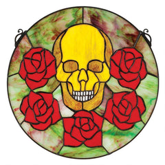 Beauty and Decay Gothic Skull Stained Glass Window