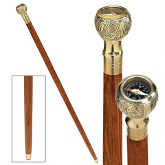 Empress Collection: Direct Path Compass Solid Hardwood Walking Stick