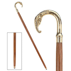 "36"" African Elephant Polished Brass Curved handle Hardwood Gentlemen's Walkin..."