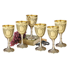 "6.5"" Medieval Knights Royal Chalice Brass Wine Goblet Cup - Set of 6"