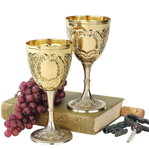 "6.5"" Medieval Knights Royal Chalice Brass Wine Goblet Cup - set of 2"