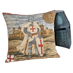 "19"" French Jacquard Loom Knight Templier Pillow - Set of 2"