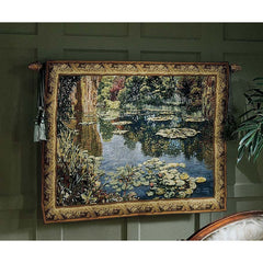 French Jacquard Loom Giverny Garden Wall Tapestry Inspired By Claude Monet.
