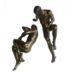 Nude Gay Couple Male Statue - Artistic Bronze Finish Body Sculpture WQ
