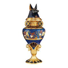 "17"" Classic Egyptian Collectible Treasure Grand Anubis Decorative Lidded Urn"