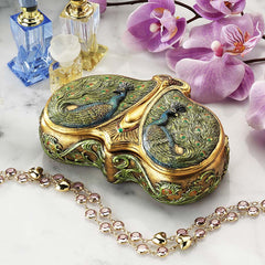 Classic Art Nouveau Twin Peacock Decorative Jewelry Box