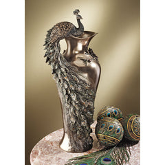 Art Nouveau Peacock Sculpture Bronze Bouquet Flower Vase