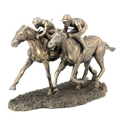 Two Jockeys Racing - Yoga, Performance Art Sculpture - Cold Cast Bronze
