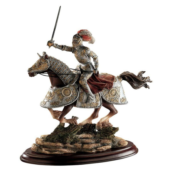 Medieval Knight on Horse Desktop Table Statue Sculpture