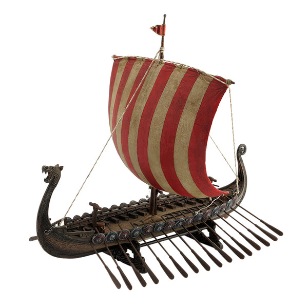 Viking Sail Boat With Red & White Stripe Sail