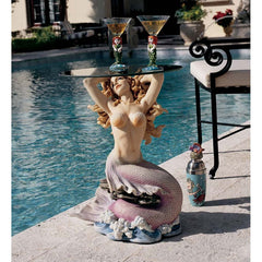 "23.5"" Sculptured Mermaid Table with Glass Top for Pool Side or Boudoir [Kitchen]"