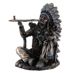 Indian Chief - Sitting And Smoking Peace Pipe - Ethnic Collectibles