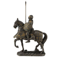 Medieval Armored Knight And Horse With Lance And Round Shield