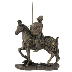 Medieval Armored Knight And Horse With Sword And Round Shield