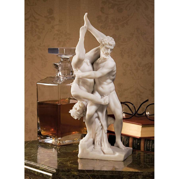 "12"" Statue of Nude Hercules and Diomedes Bonded Marble Sculpture"