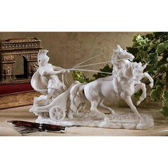 Museum Replica Charge of Roman Warrior Chariot Desktop Table Statue Sculpture
