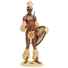 "14"" African Tribal Shaka the Zulu Warrior Sculpture Statue"
