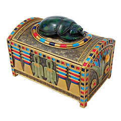 Ancient Egyptian Scarab Treasure Box Sculpture