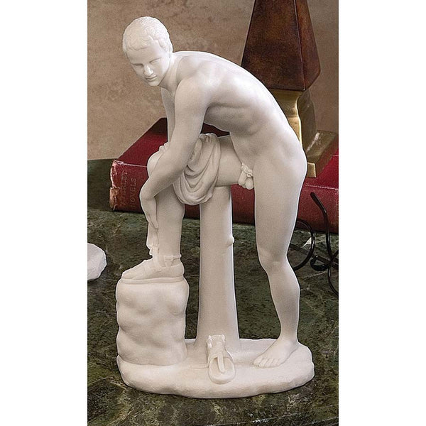 "10"" Greek Statue of Nude Hermes Fastening his Sandal Bonded Marble Sculpture"