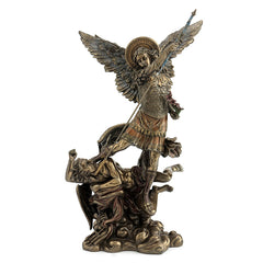 St Michael Holding Flowers Standing On The Demon - Religious Sculpture Figurine