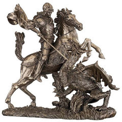 "10.5"" St. George Bronze Finish Museum-quality Slaying Dragon Sculpture Statue..."