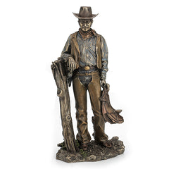 Cowboy Holding Saddle Leaning Against Fence Pole - Americana