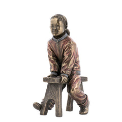 Oriental Youth -- Girl On A Bench - Ethnic Collectibles Sculpture - Cold Cast Bronze