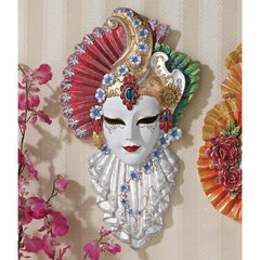 "13"" Italian Venetian Carnival Ladies Sculptural Wall Mask"