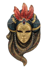 Triple Feather Turban Mask Wall Plaque - Home Accent