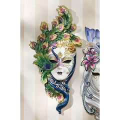 Italian Venetian Peacock Carnival Wall Mask Sculpture