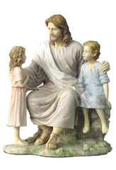 Jesus With Little Boy And Girl (Light Color) - Religious