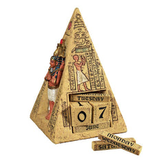 "11""w Ancient Egyptian Pyramid Collectible Desktop Calendar Statue Sculpture"